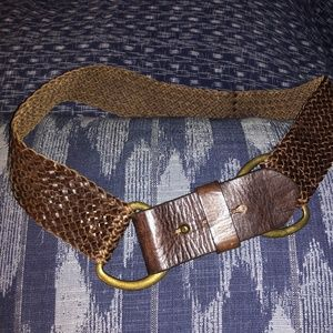 J. Crew gorgeous brown WIDE braided leather belt M